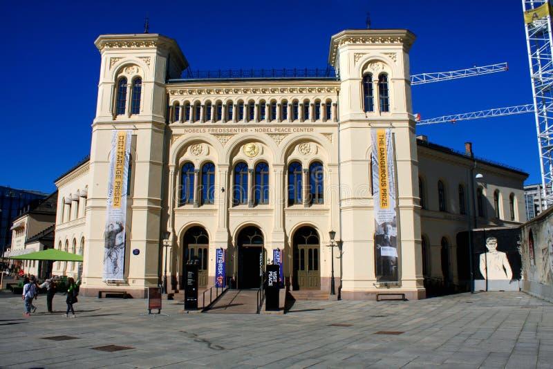 A construção bonita famosa do centro da paz de Nobel na noite, localiza foto de stock royalty free