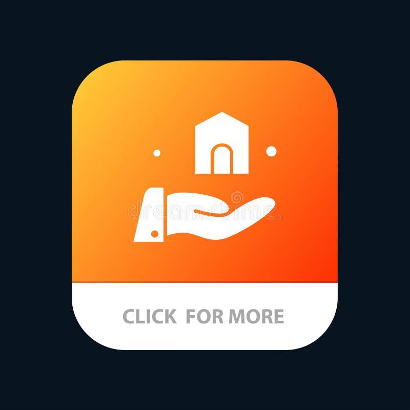 Construção, construção, botão móvel do App da construção Android e do Glyph do IOS versão ilustração stock