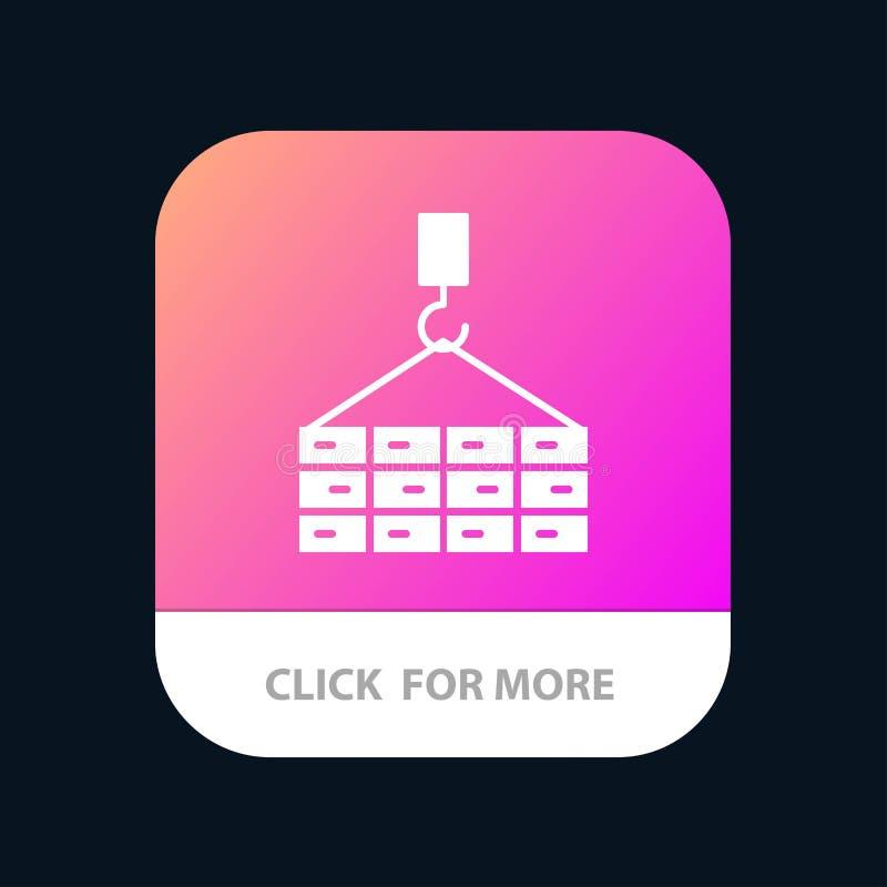 Construção, carga, construção, Crane Mobile App Button Android e do Glyph do IOS versão ilustração stock
