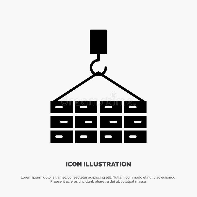 Construção, carga, construção, vetor contínuo do ícone do Glyph do guindaste ilustração royalty free