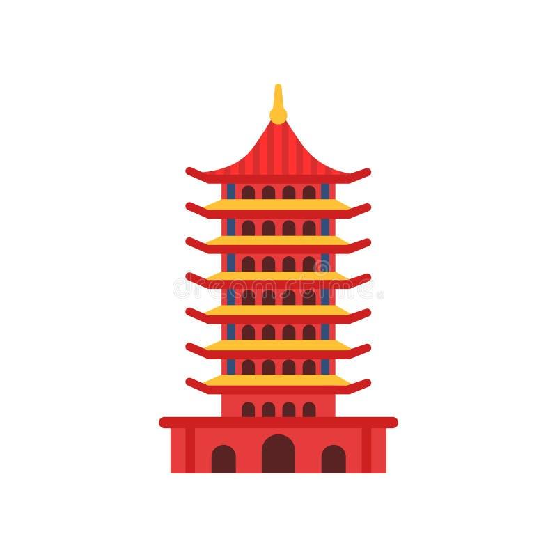 Construção chinesa do pagode Torre multi-estratificado dos desenhos animados Templo budista Conceito antigo da arquitetura Símbol ilustração do vetor