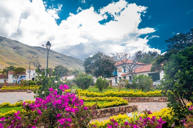 Construção colonial de Casa de campo de Leyva em Colômbia foto de stock