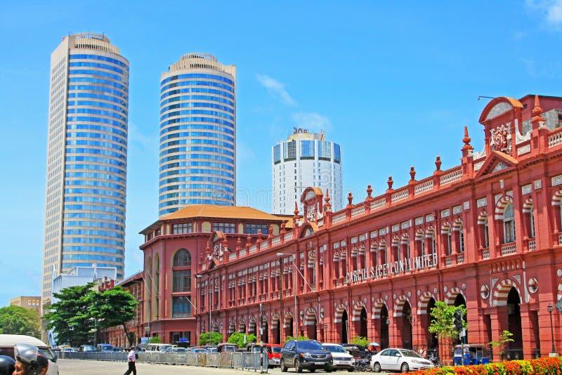 Construção colonial e World Trade Center, Sri Lanka Colombo imagem de stock