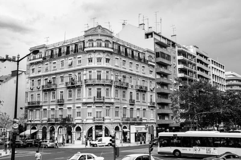 Construção com elementos do estilo da arquitetura de Art Nouveau em Lisboa imagem de stock