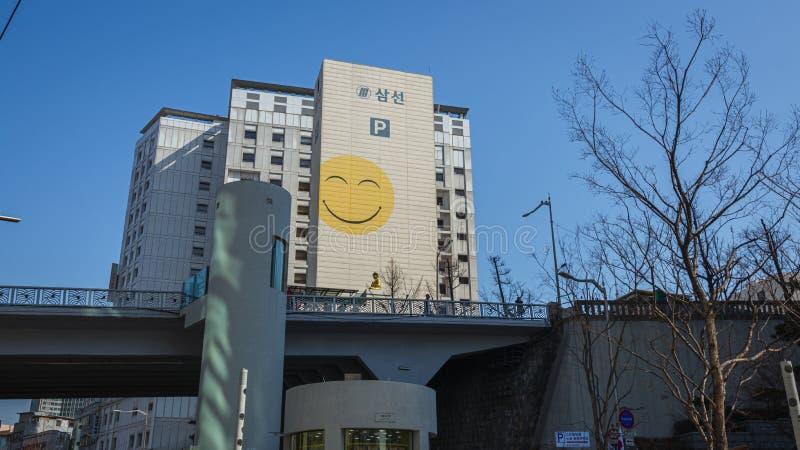 Construção com um sorriso Seoul fotografia de stock
