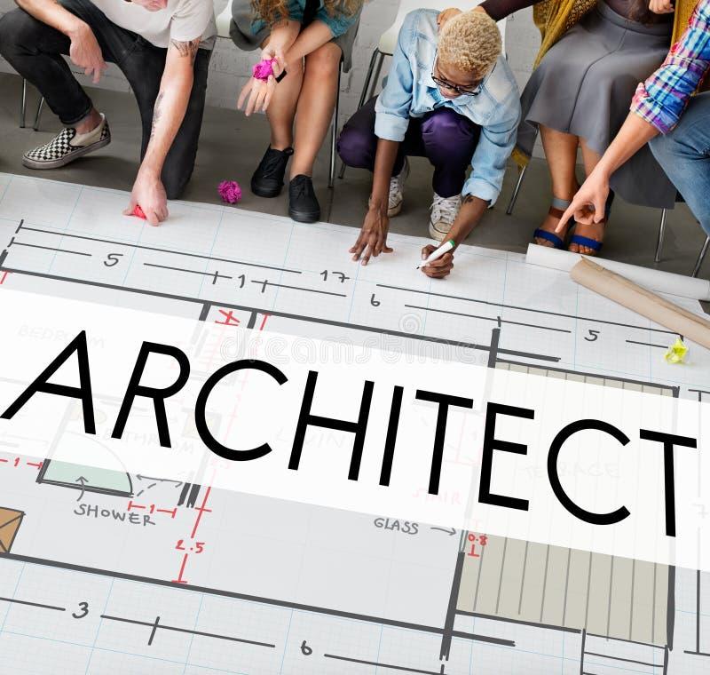 Construção Concep de Architecture Design Infrastructure do arquiteto foto de stock royalty free