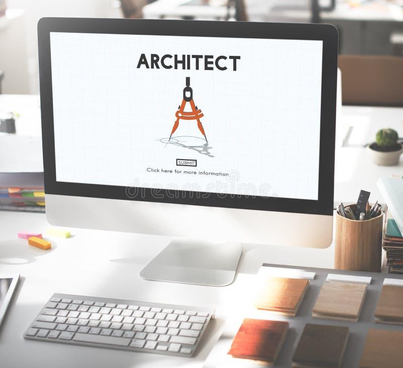 Construção Concep de Architecture Design Infrastructure do arquiteto foto de stock