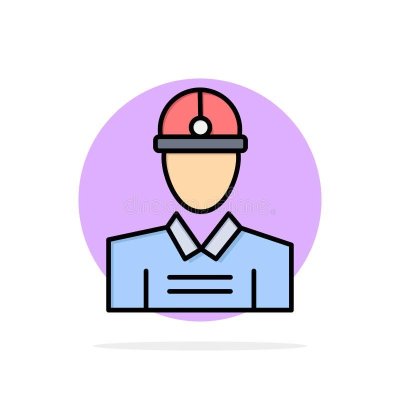 Construção, coordenador, trabalhador, do fundo abstrato do círculo do trabalho ícone liso da cor ilustração royalty free