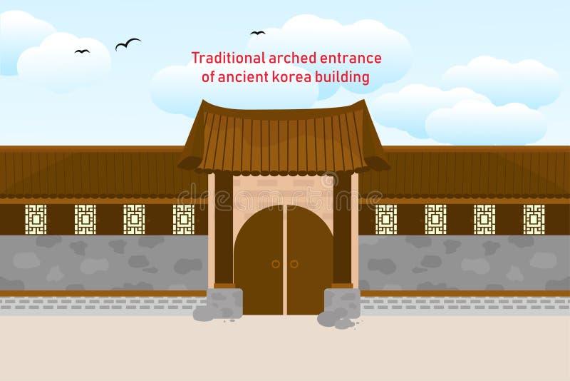 Construção coreana de Tradional ilustração do vetor