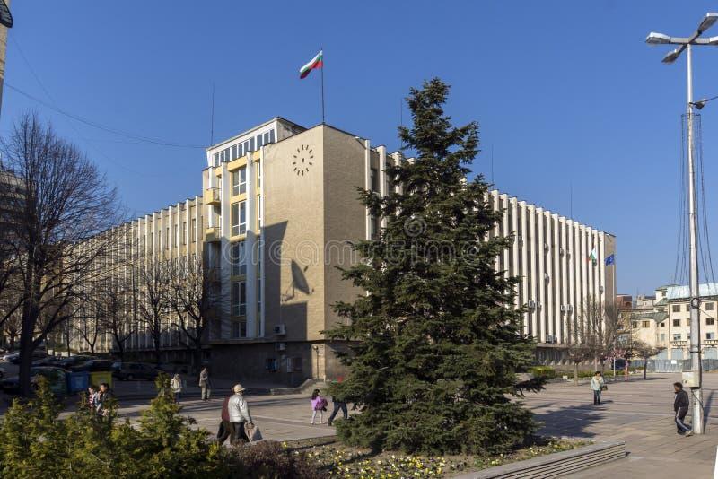 Construção da administração do distrito no centro da cidade de Haskovo, Bulgária foto de stock royalty free