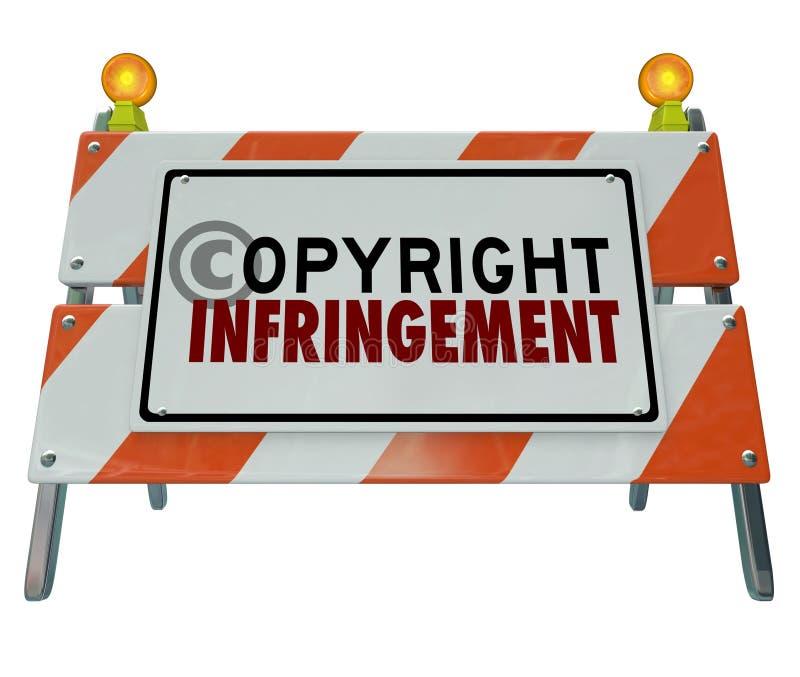 Construção da barricada da barreira da violação da violação dos direitos de autor ilustração do vetor