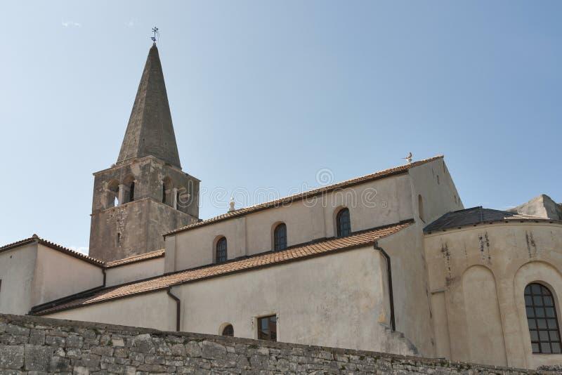 Construção da basílica de Euphrasian em Porec, Croácia foto de stock