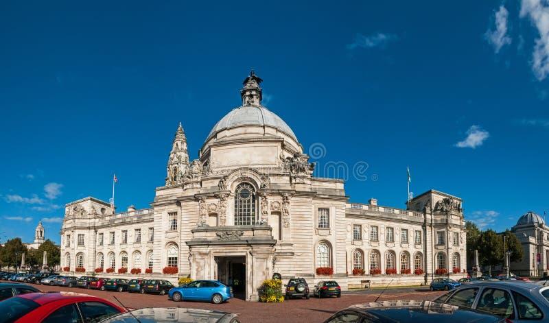 Construção da câmara municipal em Cardiff, Gales, Reino Unido foto de stock royalty free