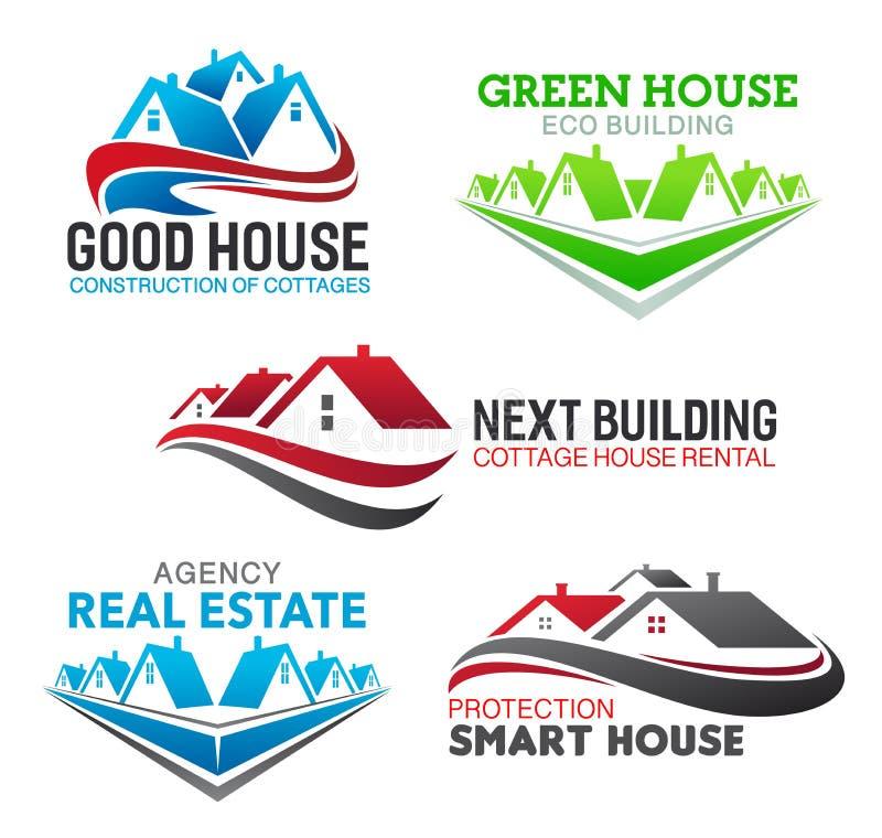 Construção da casa, ícones reais da agência imobiliária ilustração stock
