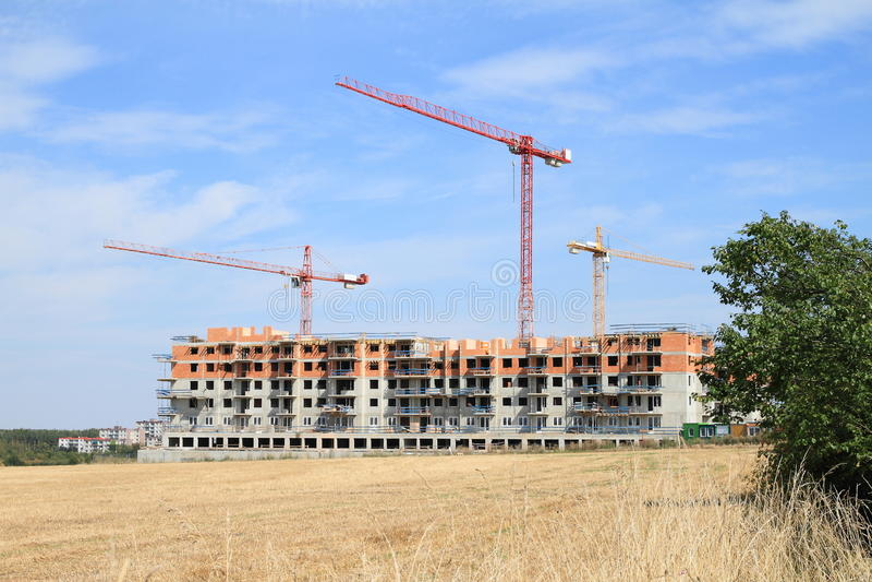 Construção da casa com planos imagem de stock