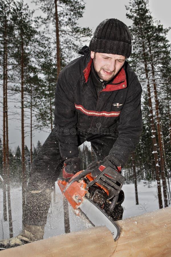 A construção da casa de log, um trabalhador novo viu a madeira, usando a fotos de stock