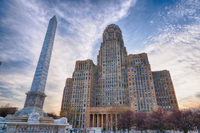 Construção da cidade do búfalo e monumento de McKinley imagem de stock royalty free
