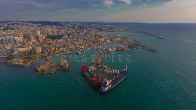 Construção da cidade marítima de Saida Lebanon fotos de stock royalty free