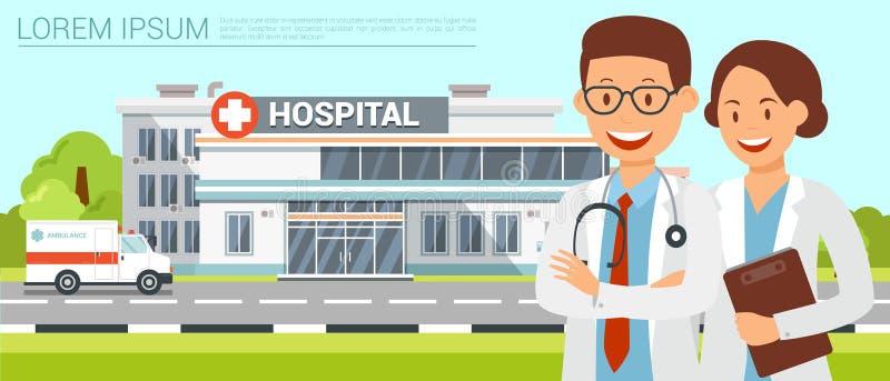 Construção da clínica Ilustração lisa do vetor ilustração royalty free