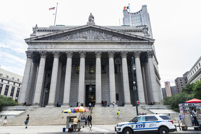 Construção da corte suprema dos Estados de Nova Iorque em New York City, EUA imagem de stock