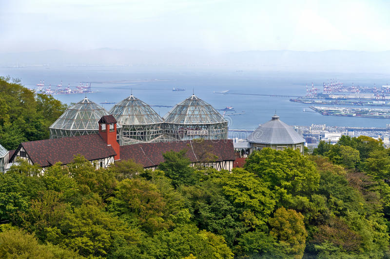 Construção da estufa de Nunobiki Herb Garden na montagem Rokko em Kobe, Japão fotografia de stock