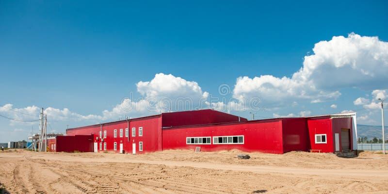 Construção da fábrica da carne fotografia de stock