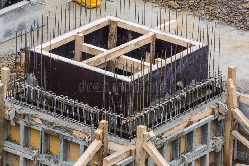 Construção da fundação do aço e do concreto fotos de stock royalty free