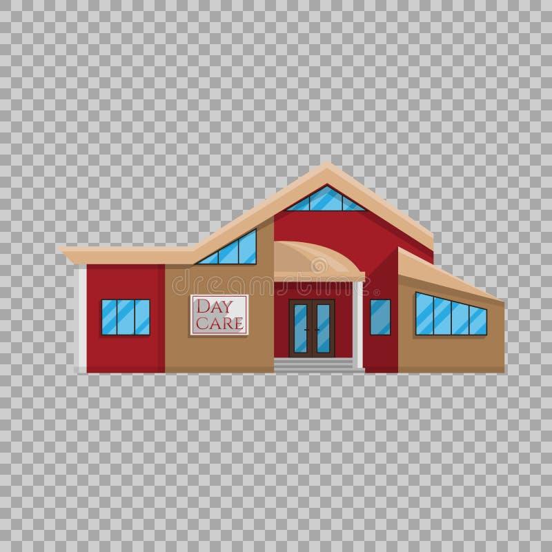 Construção da guarda no estilo liso na ilustração transparente do vetor do fundo Educação de pré-escolar do jardim de infância ilustração stock