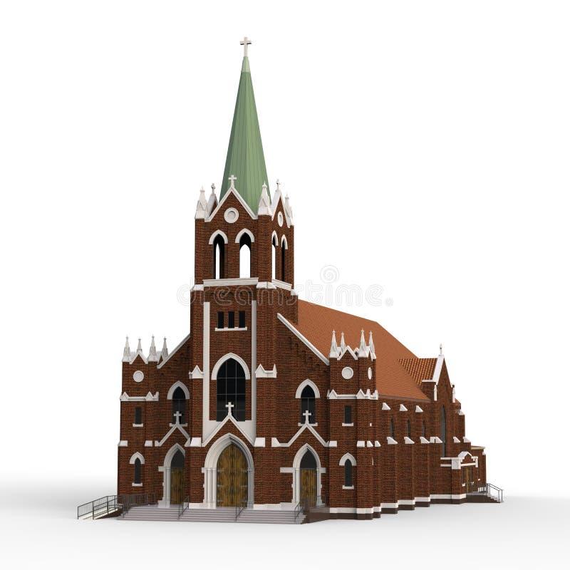 A construção da igreja Católica, vistas dos lados diferentes Ilustração tridimensional em um fundo branco renderin 3D ilustração stock