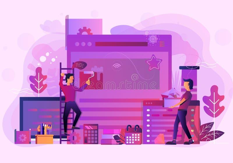 Construção da ilustração do Web site do escritório para negócios ilustração do vetor