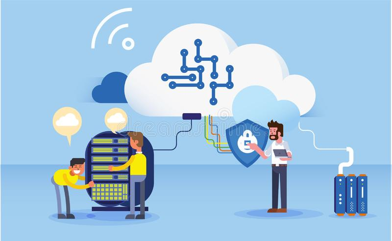 Construção da ilustração do Web site do escritório para negócios dos dados ilustração stock