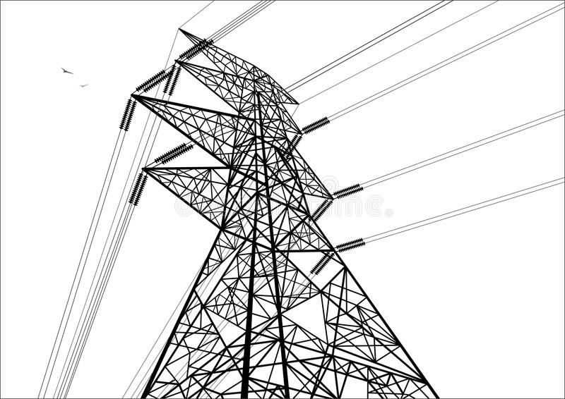 Construção da linha eléctrica Linha preto e branco art ilustração do vetor