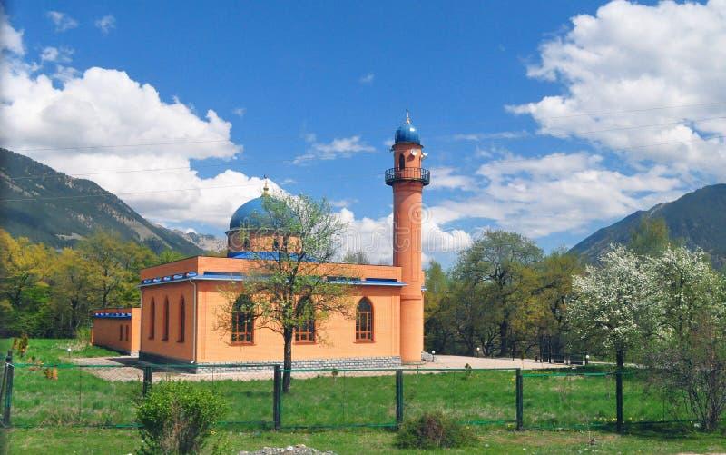 Construção da mesquita em Rússia, o Cáucaso entre as hortaliças fotos de stock