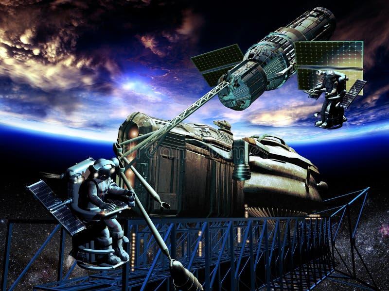 Construção da nave espacial ilustração stock