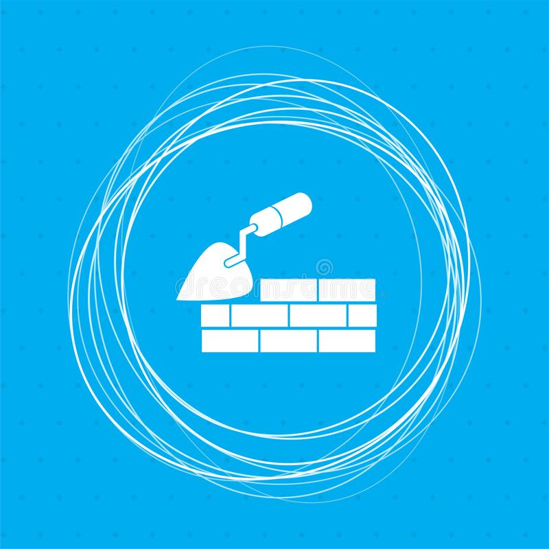 Construção da pá de pedreiro e ícone da parede de tijolo em um fundo azul com círculos abstratos em torno e lugar para seu texto ilustração stock