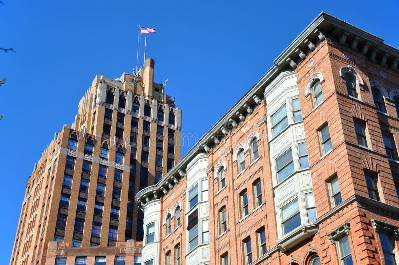 Construção da torre do estado, Siracusa, New York, EUA fotos de stock royalty free