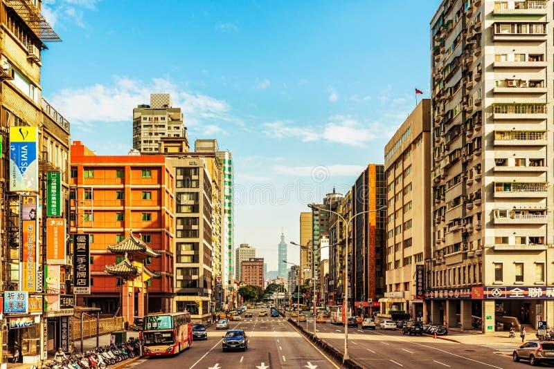 Construção da torre da estrada e dos 101 marcos em Taipei, Taiwan imagem de stock royalty free