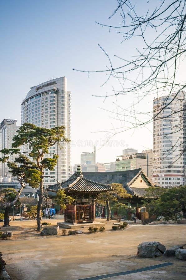Construção da tradição no templo de Bongeunsa foto de stock royalty free