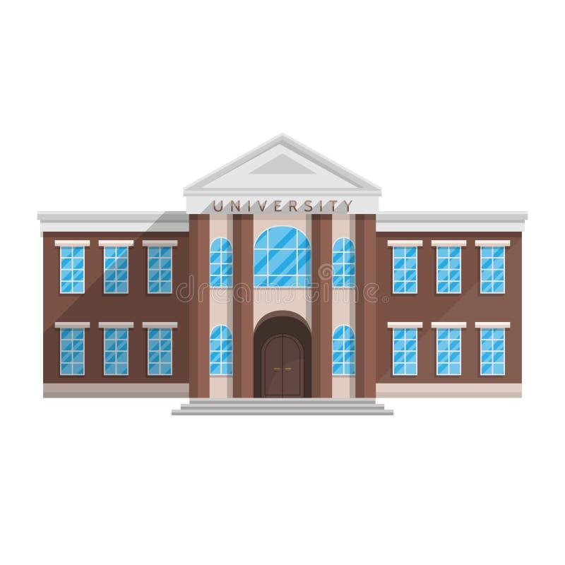 Construção da universidade no estilo liso isolada no fundo branco ilustração stock
