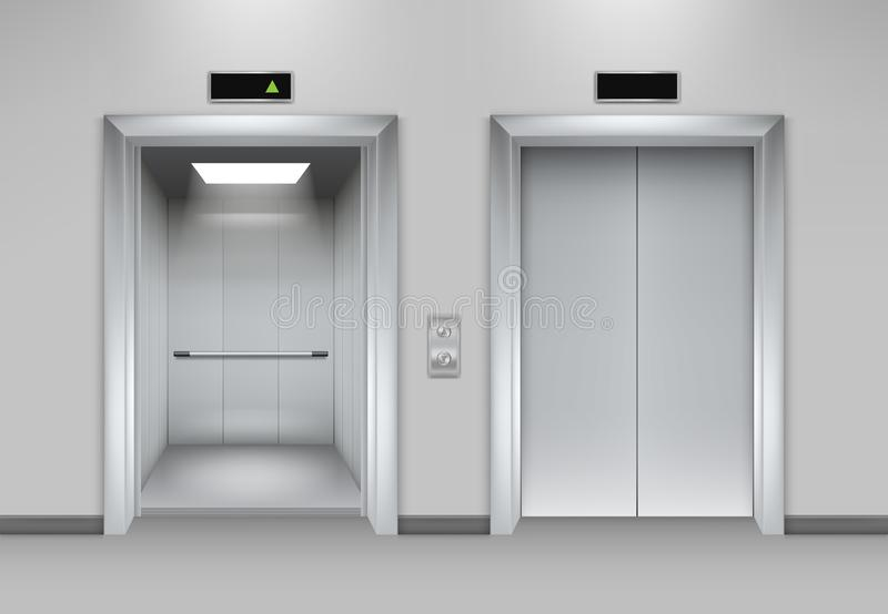 Construção das portas do elevador Botões de fechamento realísticos interiores do metal do cromo do elevador das portas de abertur ilustração do vetor