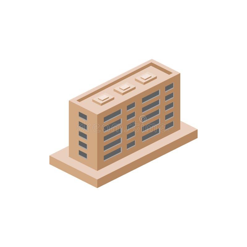 construção de apartamentos isométrica Elemento da construção isométrica da cor Ícone superior do projeto gráfico da qualidade Sin ilustração do vetor
