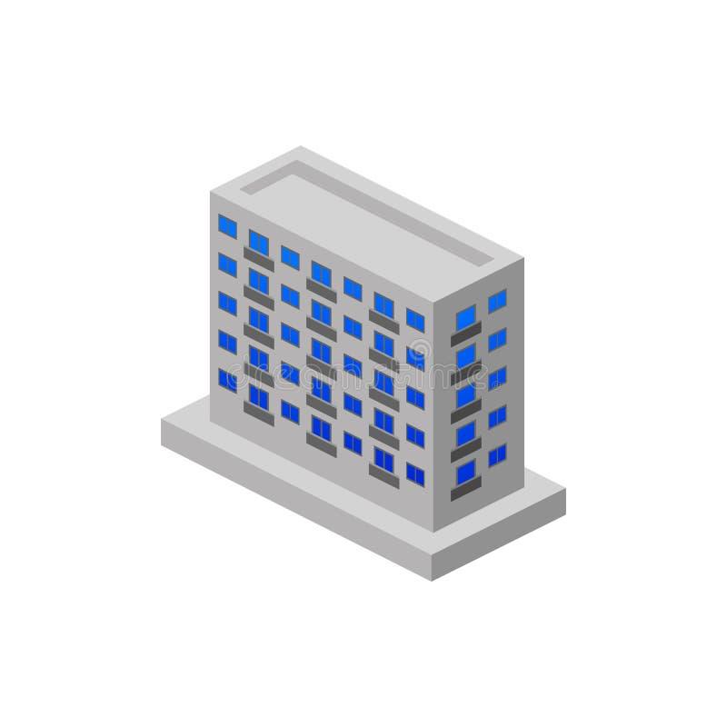 construção de apartamentos isométrica Elemento da construção isométrica da cor Ícone superior do projeto gráfico da qualidade Sin ilustração royalty free
