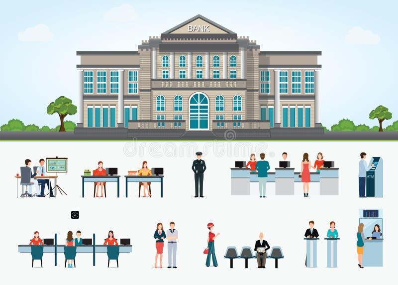 Construção de banco exterior no espaço da cidade e no acesso público ao financ ilustração stock