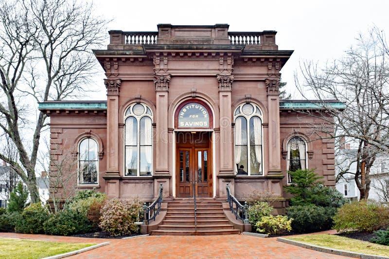 Construção de banco histórica de Italianate em Nova Inglaterra imagem de stock royalty free