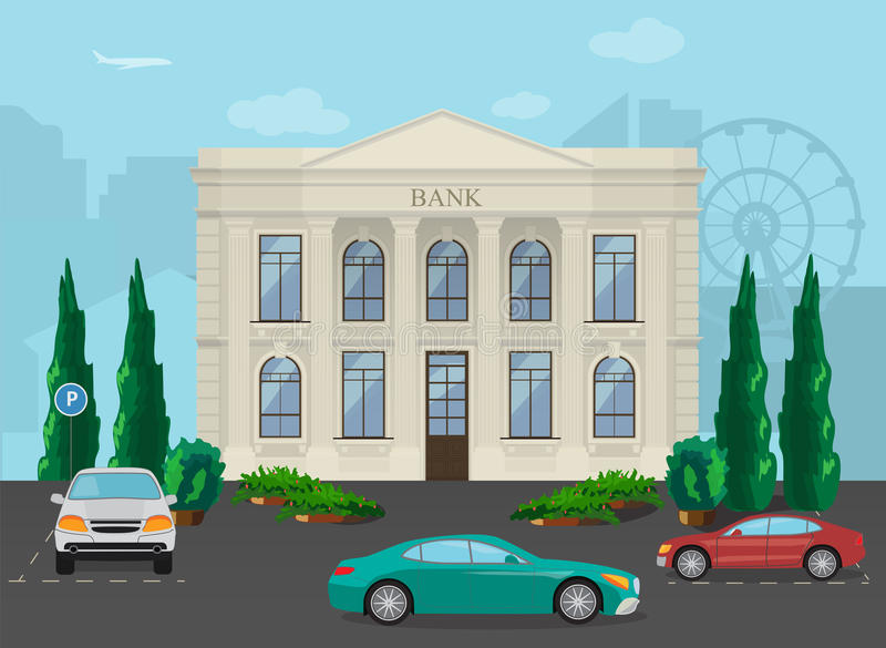 Construção de banco no fundo moderno da cidade ilustração do vetor