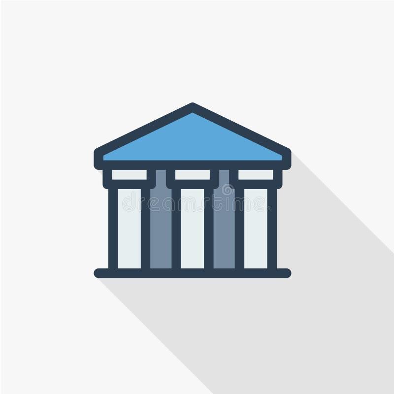Construção de banco, universidade ou museu público, linha fina clássica ícone liso da arquitetura grega Símbolo linear do vetor ilustração do vetor