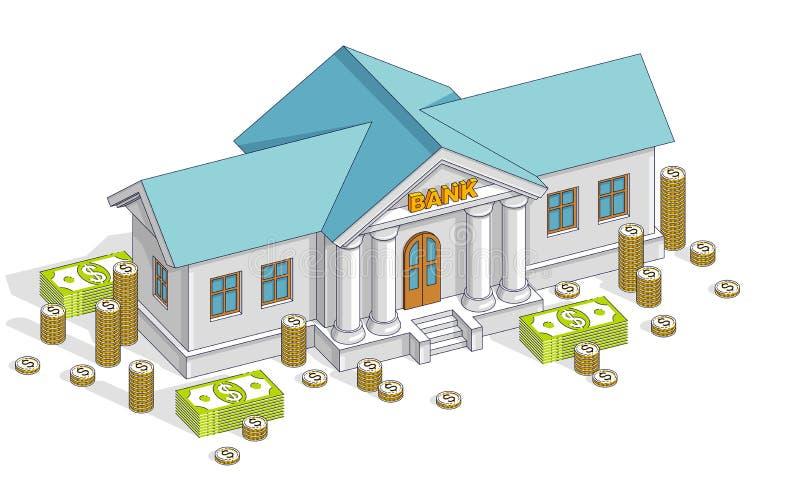 A construção de banco velha dos desenhos animados com a pilha do dólar do dinheiro do dinheiro e o centavo empilham os desenhos a ilustração do vetor