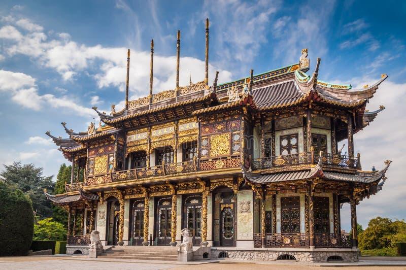 Construção de casa chinesa em Bruxelas, Bélgica fotos de stock
