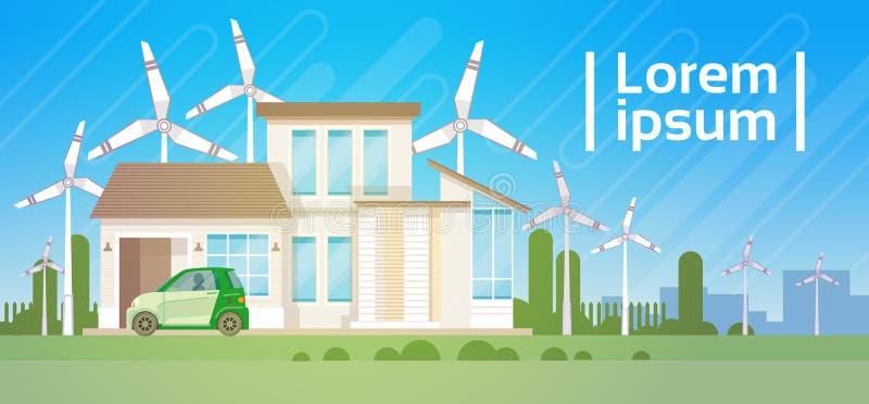 Construção de casa com a energia de Eco Real Estate da turbina eólica eficiente ilustração do vetor