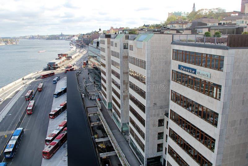 Construção de Danske Bank com logotipo fotografia de stock royalty free